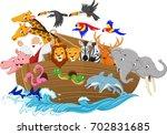 cartoon noah's ark isolated on... | Shutterstock . vector #702831685