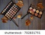 autumn makeup on wooden table | Shutterstock . vector #702831751