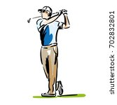 golfer hitting golf shot with... | Shutterstock .eps vector #702832801