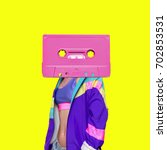 Stock photo fashion retro cassette minimal art collage 702853531