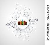 colorful smart city design...   Shutterstock .eps vector #702856495