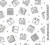 seamless pattern with calender... | Shutterstock .eps vector #702858307