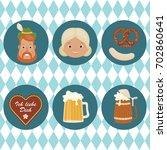 oktoberfest icons. bavarian man ... | Shutterstock .eps vector #702860641