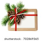 christmas gift box with ribbon... | Shutterstock . vector #702869365
