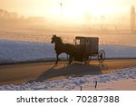 Amish Carriage In Morning Fog...