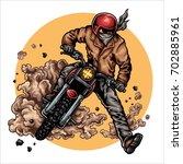 vector illustration of biker... | Shutterstock .eps vector #702885961