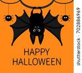 bat hanging. spider dash line... | Shutterstock . vector #702886969