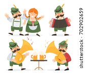 oktoberfest. funny cartoon... | Shutterstock .eps vector #702902659