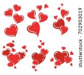 set of red hearts. collection... | Shutterstock .eps vector #702903019
