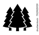 Three conifer pine trees in a forest or park simple vector icon for nature apps and websites