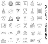 gift icons set. outline style... | Shutterstock .eps vector #702907765