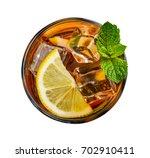 glass of lemon ice tea isolated ... | Shutterstock . vector #702910411