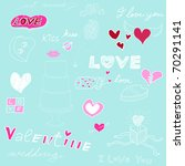 love background  sketch on blue ... | Shutterstock . vector #70291141