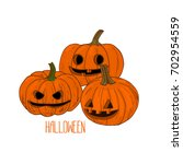 sketch style three hallowed out ... | Shutterstock .eps vector #702954559