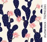 navy blue hand drawn cactus... | Shutterstock .eps vector #702961261