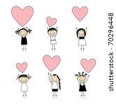 cute girls with valentine... | Shutterstock .eps vector #70296448