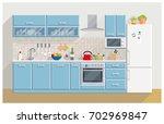 kitchen modern furniture home...   Shutterstock .eps vector #702969847