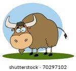 Cartoon Brown Yak On Grass...