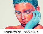 body art woman face portrait ... | Shutterstock . vector #702978415
