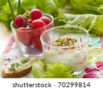 Healthy eating - cottage cheese or cream cheese with radish and sprouts - stock photo