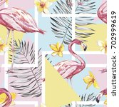 seamless pattern with tropical... | Shutterstock .eps vector #702999619
