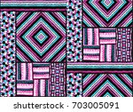 set of ethnic art brushes in... | Shutterstock .eps vector #703005091
