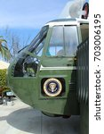 Small photo of Yorba Linda, CA/USA: March 20, 2017 – Close-up of front of Marine One helicopter of 37th president Richard Nixon at Nixon Library and Museum. Only presidents' helicopters have white tops.