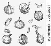 hand drawn garlic and onions.... | Shutterstock . vector #703010317