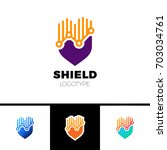 orange color rate shield secure ... | Shutterstock .eps vector #703034761