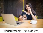 lifestyle coffee  woman using... | Shutterstock . vector #703035994