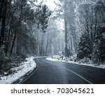 snow on roads and forest on... | Shutterstock . vector #703045621