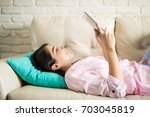 attractive woman taking... | Shutterstock . vector #703045819