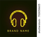 headphones golden metallic logo