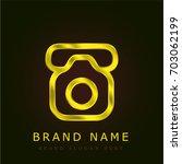 old phone golden metallic logo
