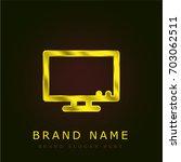 television golden metallic logo