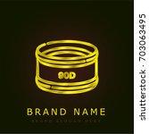 lens golden metallic logo