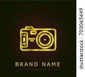 photo camera golden metallic...