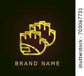 gloves golden metallic logo