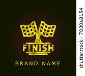 finish golden metallic logo
