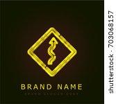 sign golden metallic logo