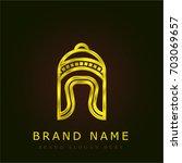 winter hat golden metallic logo