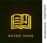 open book golden metallic logo