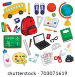 back to school doodle elements... | Shutterstock .eps vector #703071619