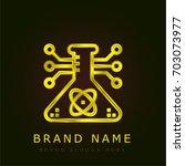science golden metallic logo