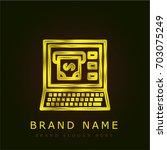 bank online golden metallic logo