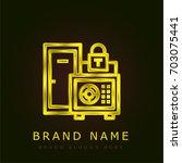 safe box golden metallic logo