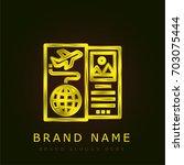 travel golden metallic logo