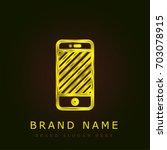 smartphone golden metallic logo