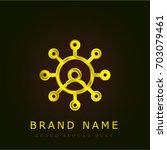networking golden metallic logo