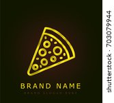 pizza golden metallic logo
